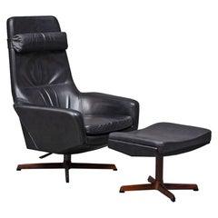 Madsen + Schubel Reclining Swivel Highback Lounge Chair + Ottoman #2