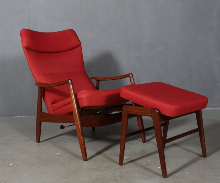 Mid-20th Century Madsen & Schubell Lounge Chair with Ottoman For Sale