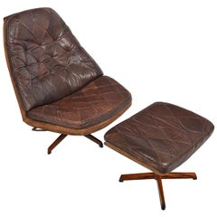 Madsen and Schubell Model 68 Brown Leather Swivel Chair and Ottoman