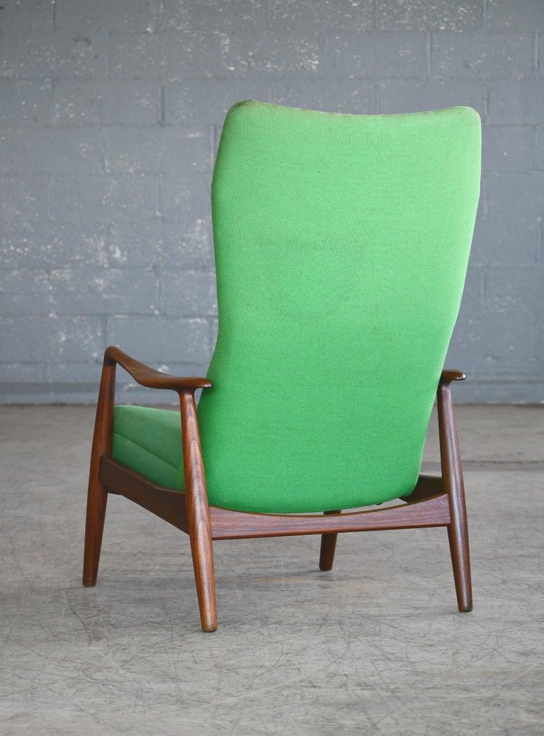Madsen & Schubell Reclining Teak Lounge Chair with Ottoman, Denmark, circa 1960 For Sale 4