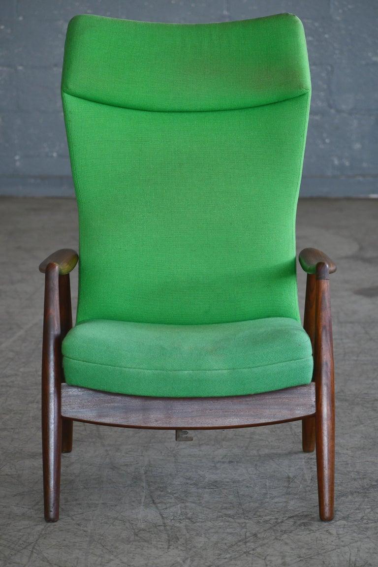 Madsen & Schubell Reclining Teak Lounge Chair with Ottoman, Denmark, circa 1960 For Sale 5