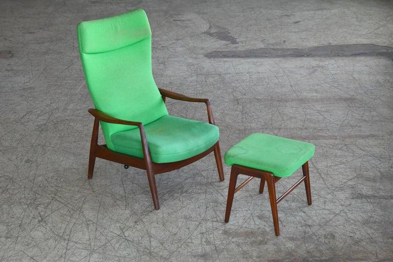 Madsen & Schubell Reclining Teak Lounge Chair with Ottoman, Denmark, circa 1960 For Sale 7