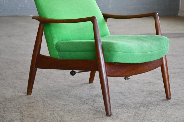 Danish Madsen & Schubell Reclining Teak Lounge Chair with Ottoman, Denmark, circa 1960 For Sale