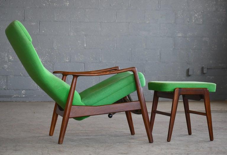 Madsen & Schubell Reclining Teak Lounge Chair with Ottoman, Denmark, circa 1960 For Sale 1