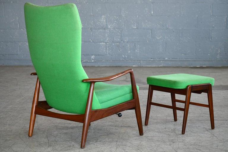Madsen & Schubell Reclining Teak Lounge Chair with Ottoman, Denmark, circa 1960 For Sale 2