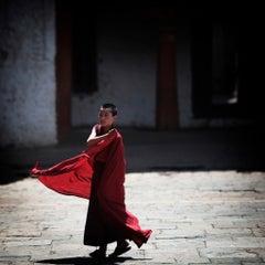 Boy Monk in Red Robe, Bhutan - print unframed