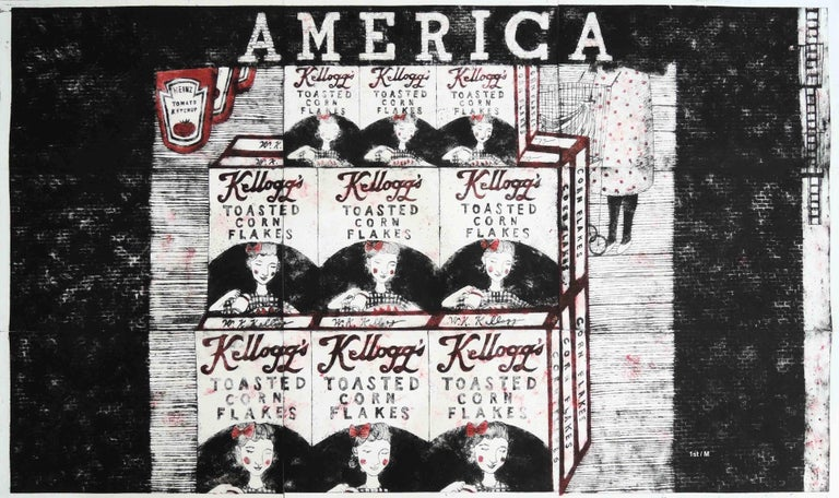 """MAE Curates Abstract Print - Etchings - """"America"""""""