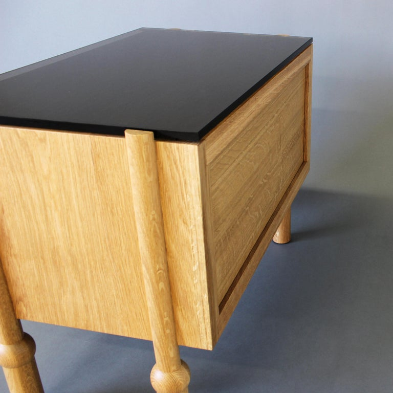 Patinated Mae Nightstand and Side Table For Sale