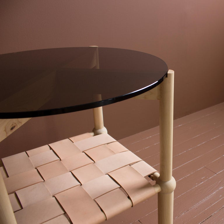 Mae Solid Wood, Leather, and Glass Side Table by Crump and Kwash For Sale 3
