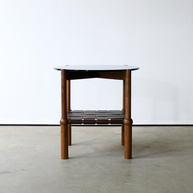 Modern Mae Solid Wood, Leather, and Glass Side Table by Crump and Kwash For Sale