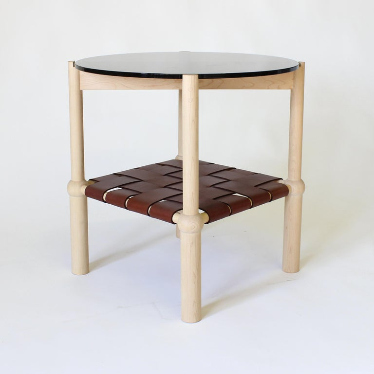 Blackened Mae Solid Wood, Leather, and Glass Side Table by Crump and Kwash For Sale
