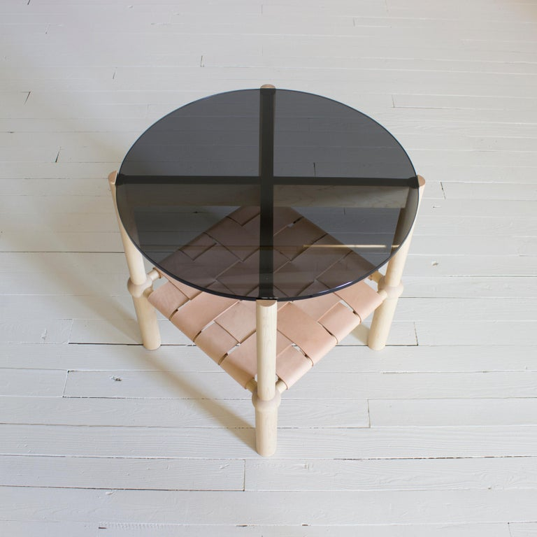 Mae Solid Wood, Leather, and Glass Side Table by Crump and Kwash In New Condition For Sale In Baltimore City, MD
