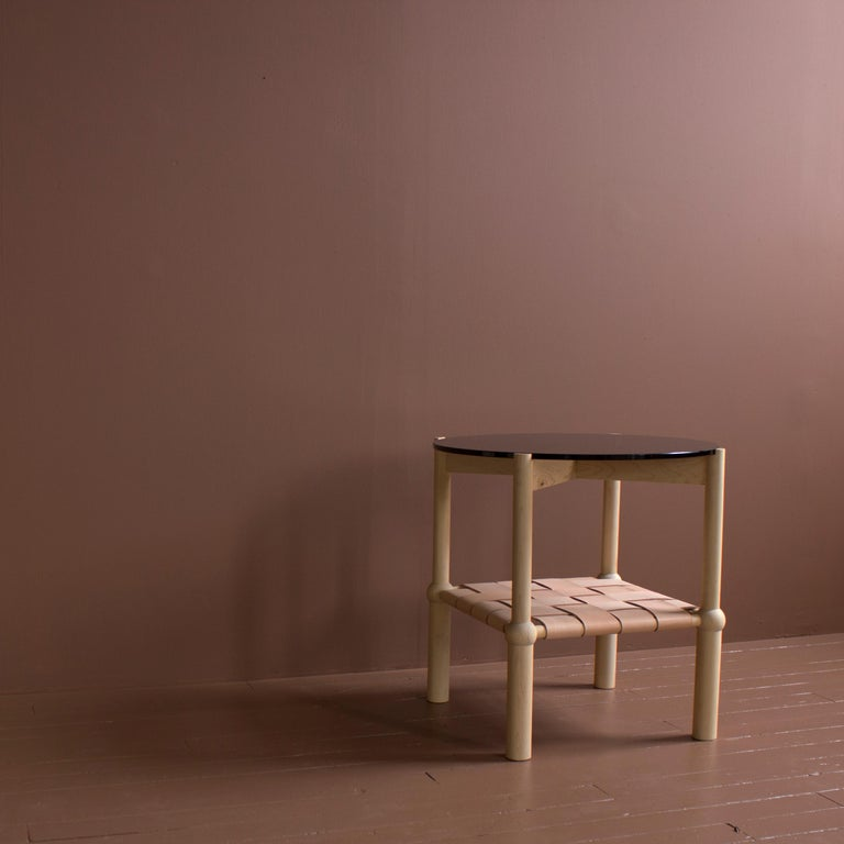 Contemporary Mae Solid Wood, Leather, and Glass Side Table by Crump and Kwash For Sale