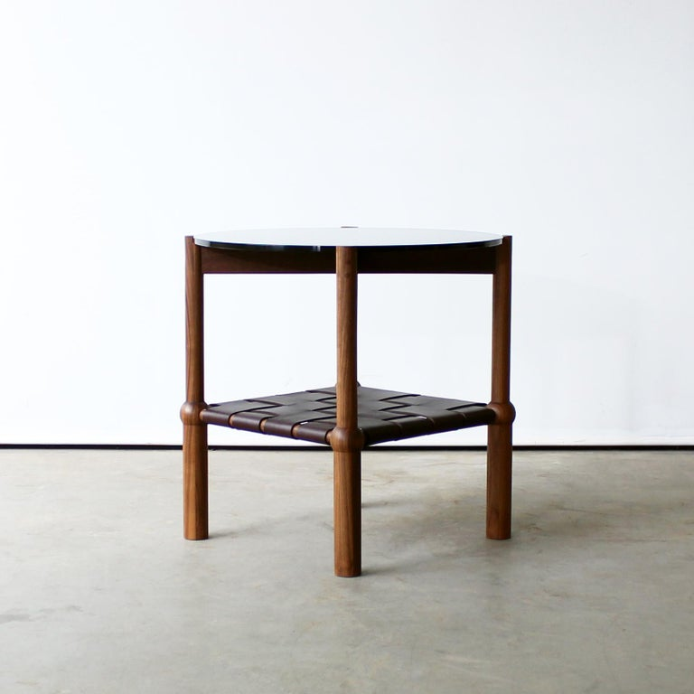 Mae Solid Wood, Leather, and Glass Side Table by Crump and Kwash For Sale 1
