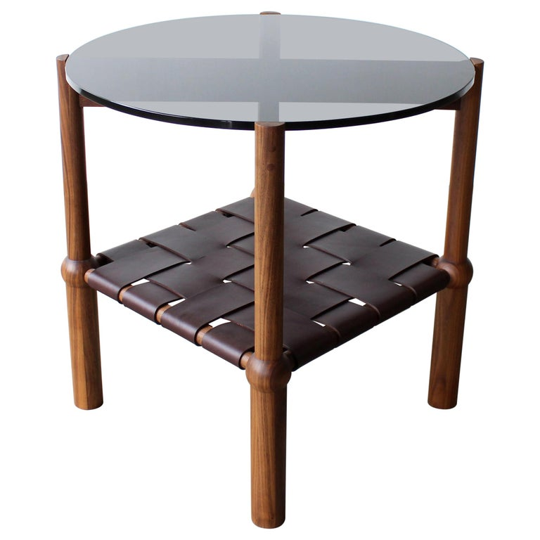 Mae Solid Wood, Leather, and Glass Side Table by Crump and Kwash For Sale
