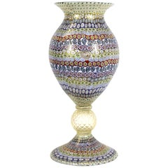 Maestro Imperio Rossi Italian Murano Glass Millefiori Monumental Vase