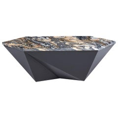 Maeve Coffee Table, Wood with Marble Top Modern and Minimalist Mid Table