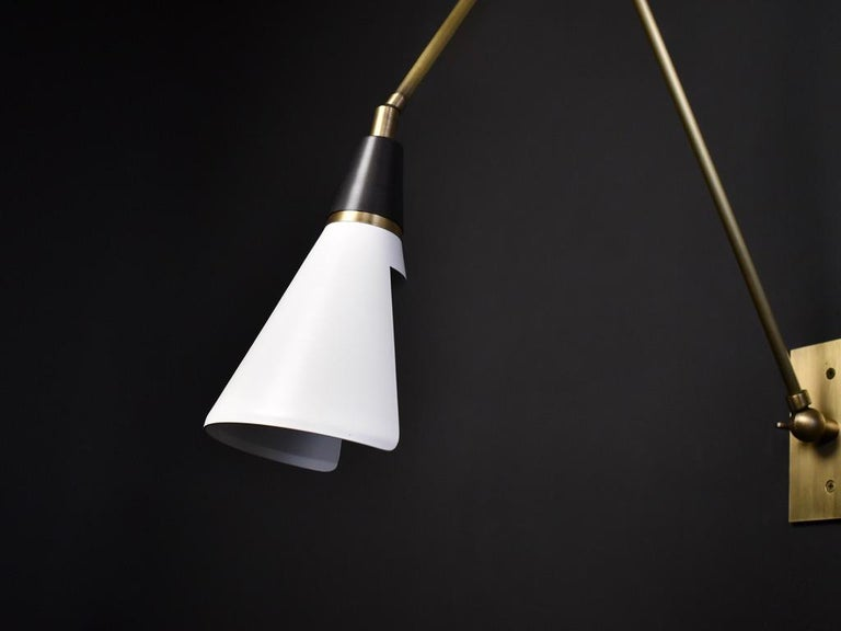American Magari Adjustable Wall Lamp in Black, White and Brass Made by Blueprint Lighting For Sale