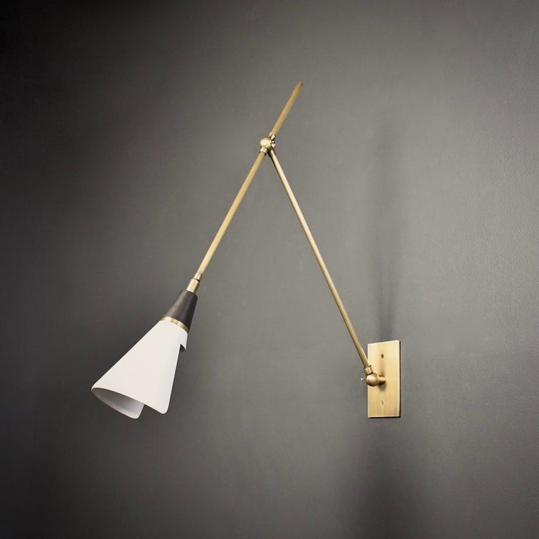 Magari Adjustable Wall Lamp in Black, White and Brass Made by Blueprint Lighting In New Condition For Sale In New York, NY