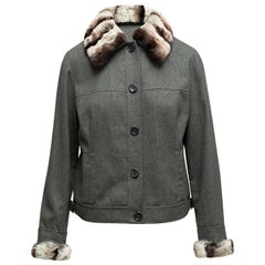 Magaschoni Grey Cashmere & Wool Fur-Trimmed Jacket