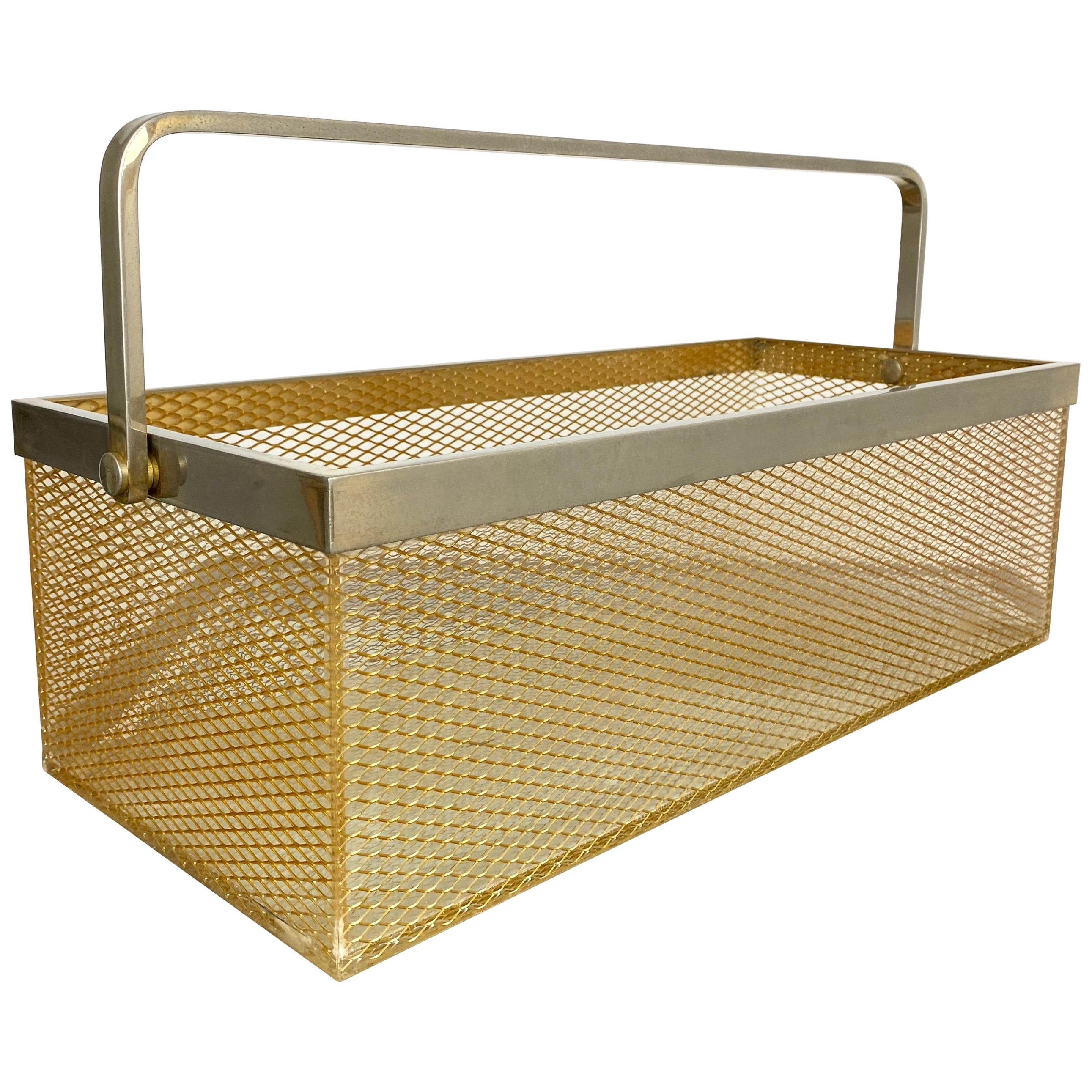 Magazine Holder Rack in Nickel and Netting Lucite, Italy, 1970s