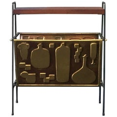 Magazine Holder Finished in Brass with Bottle Designs, Europe, Mid-20th Century