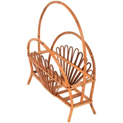 Magazine Rack Attributed to Franco Albini, Bamboo and Rattan, Italy, 1960s