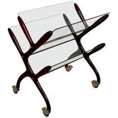 Magazine Rack Cart by Cesare Lacca, Wood and Glass, Italy, 1950s