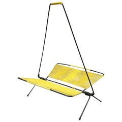 Italian mid-century metal and yellow woven plastic magazine rack, 1960s