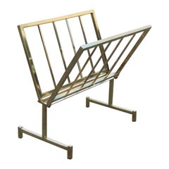 Magazine Rack Italian Design Geometric Brass Form, 1970 Gold Color