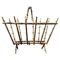 Magazine Rack Midcentury Golden Iron Faux Bamboo Form