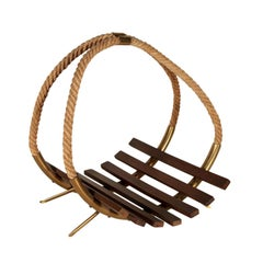 Magazine Rack Teak Brass Hemp Rope Vintage, Italy, 1960s