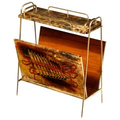 Magazine Stand by Aldo Tura, Italy, circa 1950, Goat Skin Parchment, Vintage