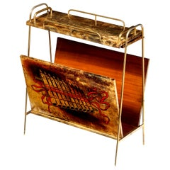 Magazine Stand by Aldo Tura, Midcentury, Goat Skin Parchment, Italy, Musical