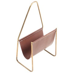 Magazine Stand in Patinated Leather and Brass by Carl Auböck, 1950s