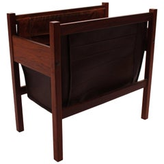 Magazine Stand in Rosewood, Dark Brown Leather and Suede of Danish Design, 1960s