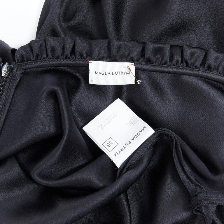 MAGDA BUTRYM black silk wool blend victorian sleeve ruffle open back dress FR36 For Sale 5