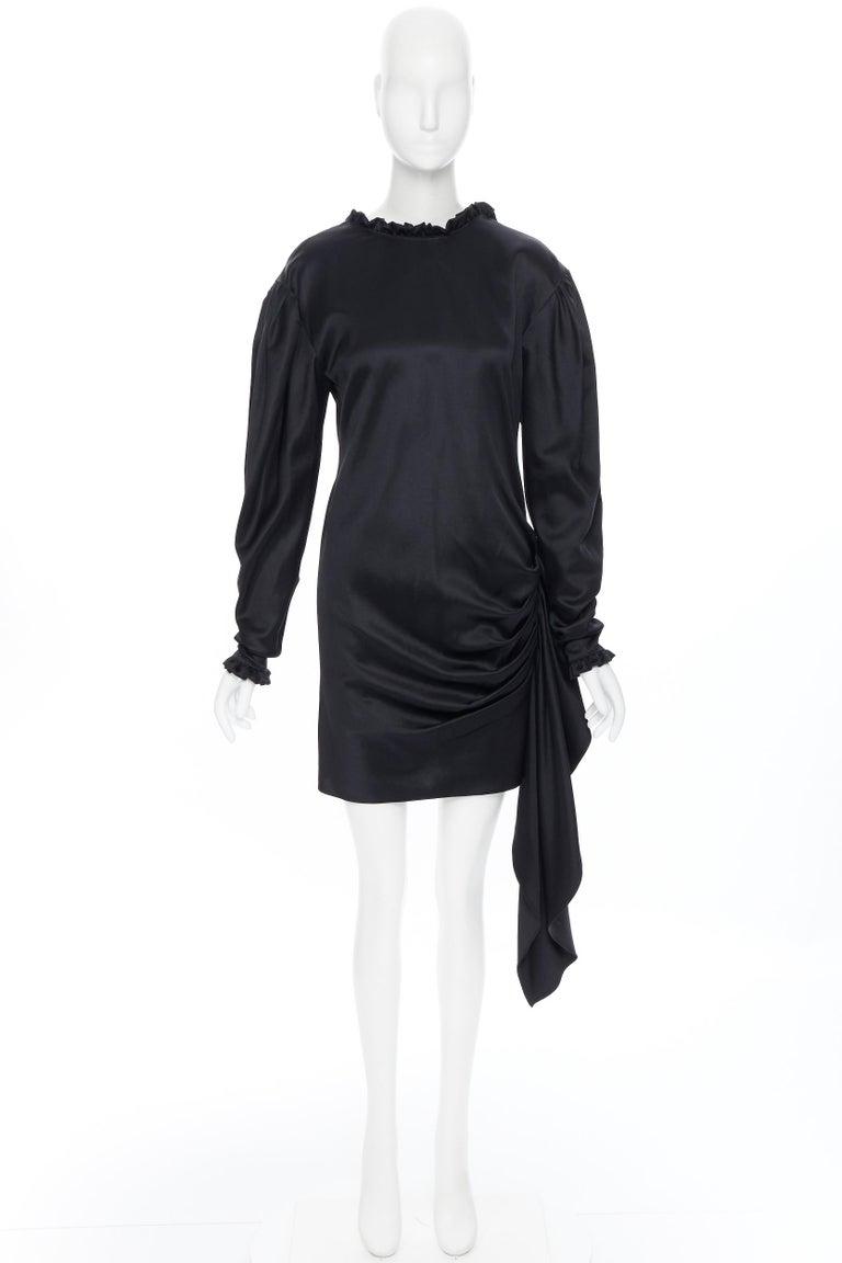 Black MAGDA BUTRYM black silk wool blend victorian sleeve ruffle open back dress FR36 For Sale