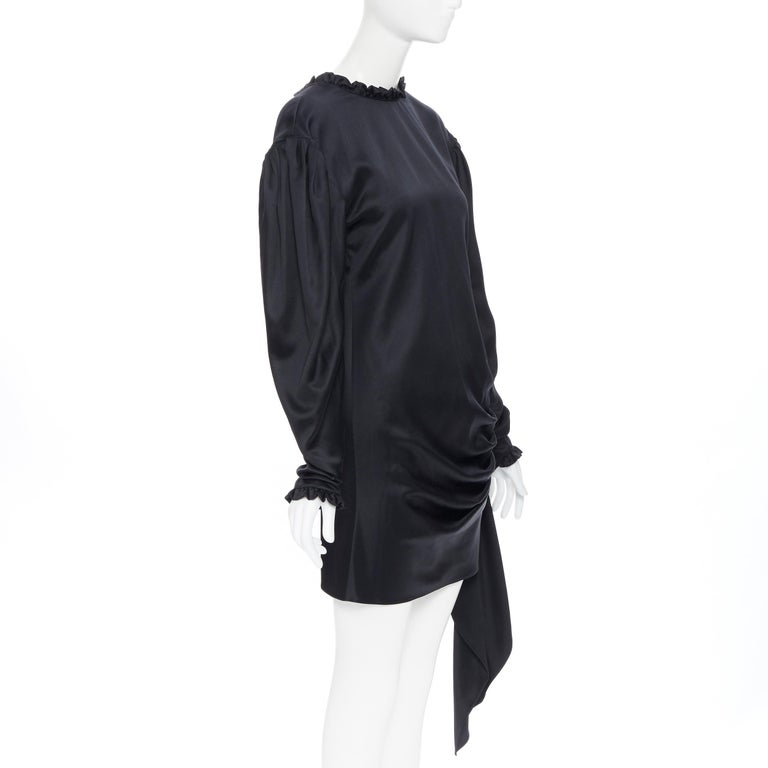 MAGDA BUTRYM black silk wool blend victorian sleeve ruffle open back dress FR36 In New Condition For Sale In Hong Kong, NT