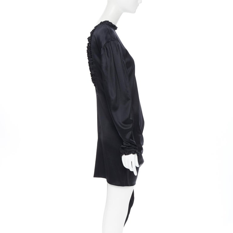 Women's MAGDA BUTRYM black silk wool blend victorian sleeve ruffle open back dress FR36 For Sale