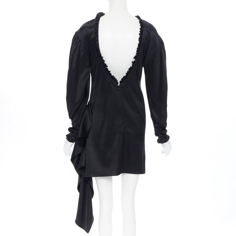 MAGDA BUTRYM black silk wool blend victorian sleeve ruffle open back dress FR36 For Sale 1
