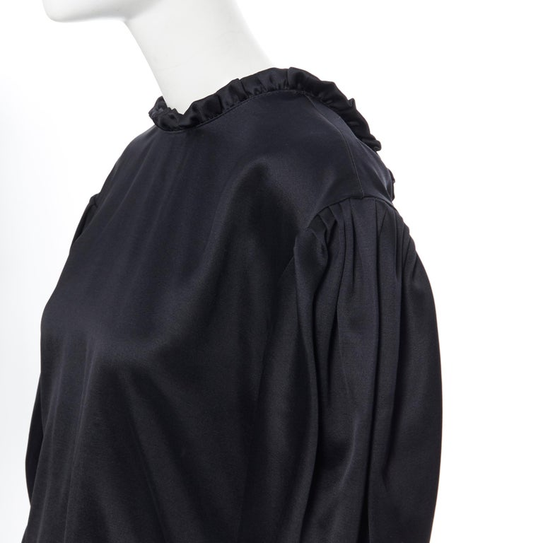 MAGDA BUTRYM black silk wool blend victorian sleeve ruffle open back dress FR36 For Sale 2
