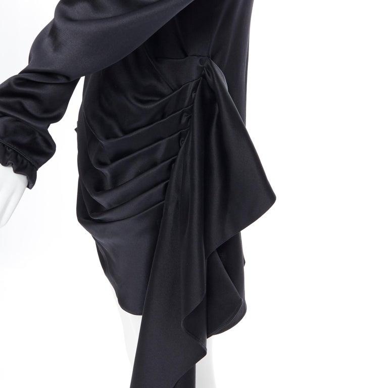 MAGDA BUTRYM black silk wool blend victorian sleeve ruffle open back dress FR36 For Sale 3