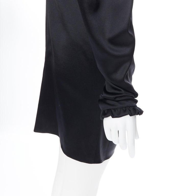 MAGDA BUTRYM black silk wool blend victorian sleeve ruffle open back dress FR36 For Sale 4