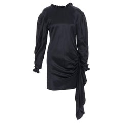 MAGDA BUTRYM black silk wool blend victorian sleeve ruffle open back dress FR36