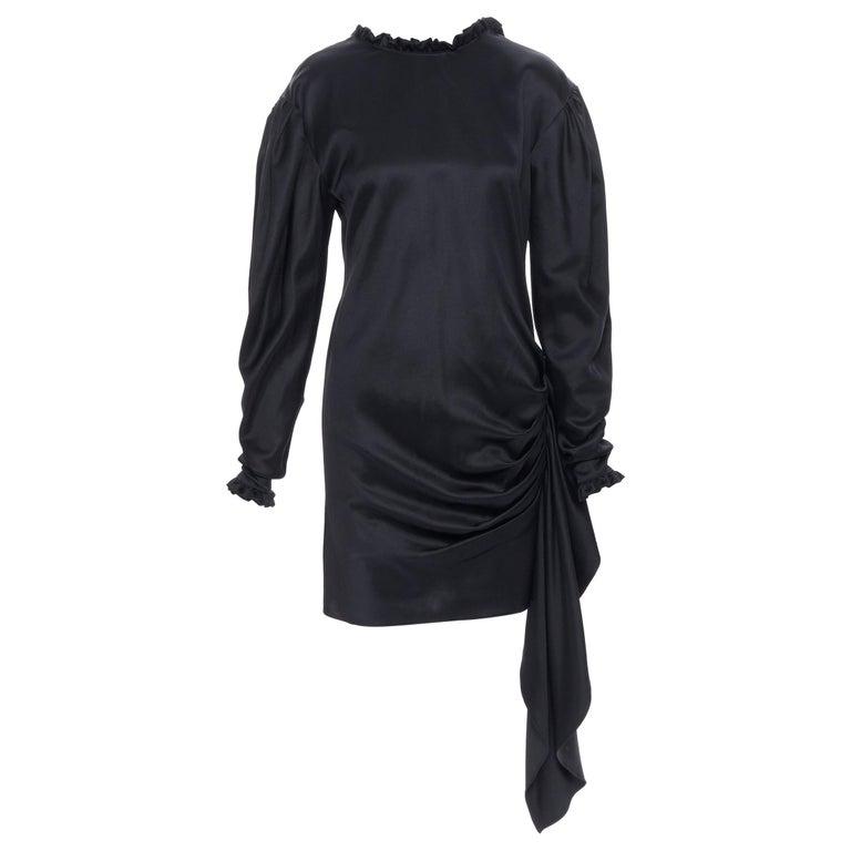 MAGDA BUTRYM black silk wool blend victorian sleeve ruffle open back dress FR36 For Sale