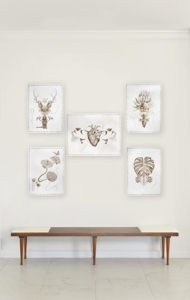 The Family Tree Complete Series. Limited edition prints intervened by the artist - Mixed Media Art by Magda Von Hanau