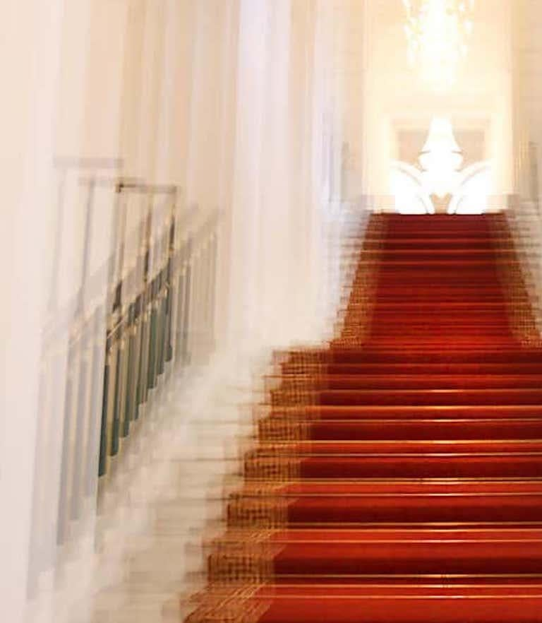 Albertina Palace Up Stairs, Small Archival Pigment Print - Contemporary Photograph by Magda Von Hanau