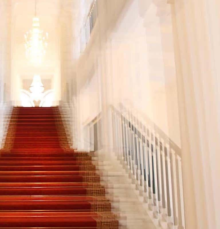 Albertina Palace Up Stairs, Small Archival Pigment Print - Beige Abstract Photograph by Magda Von Hanau