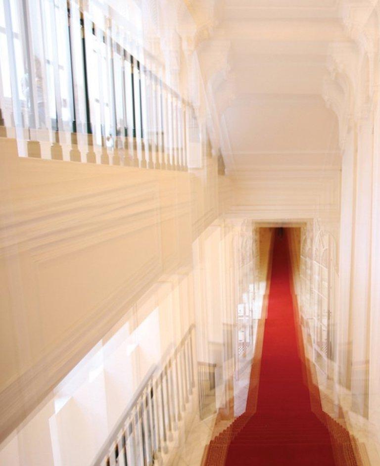 Albertina Palace Downstairs, Up Stairs & Belvedere Winter Palace Triptych - Photograph by Magda Von Hanau